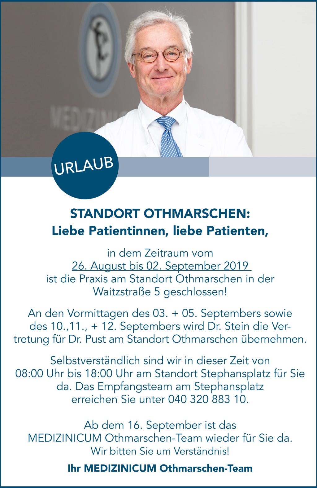 Standort Othmarschen Urlaub PopUp Hinweis - MEDIZINICUM Hamburg