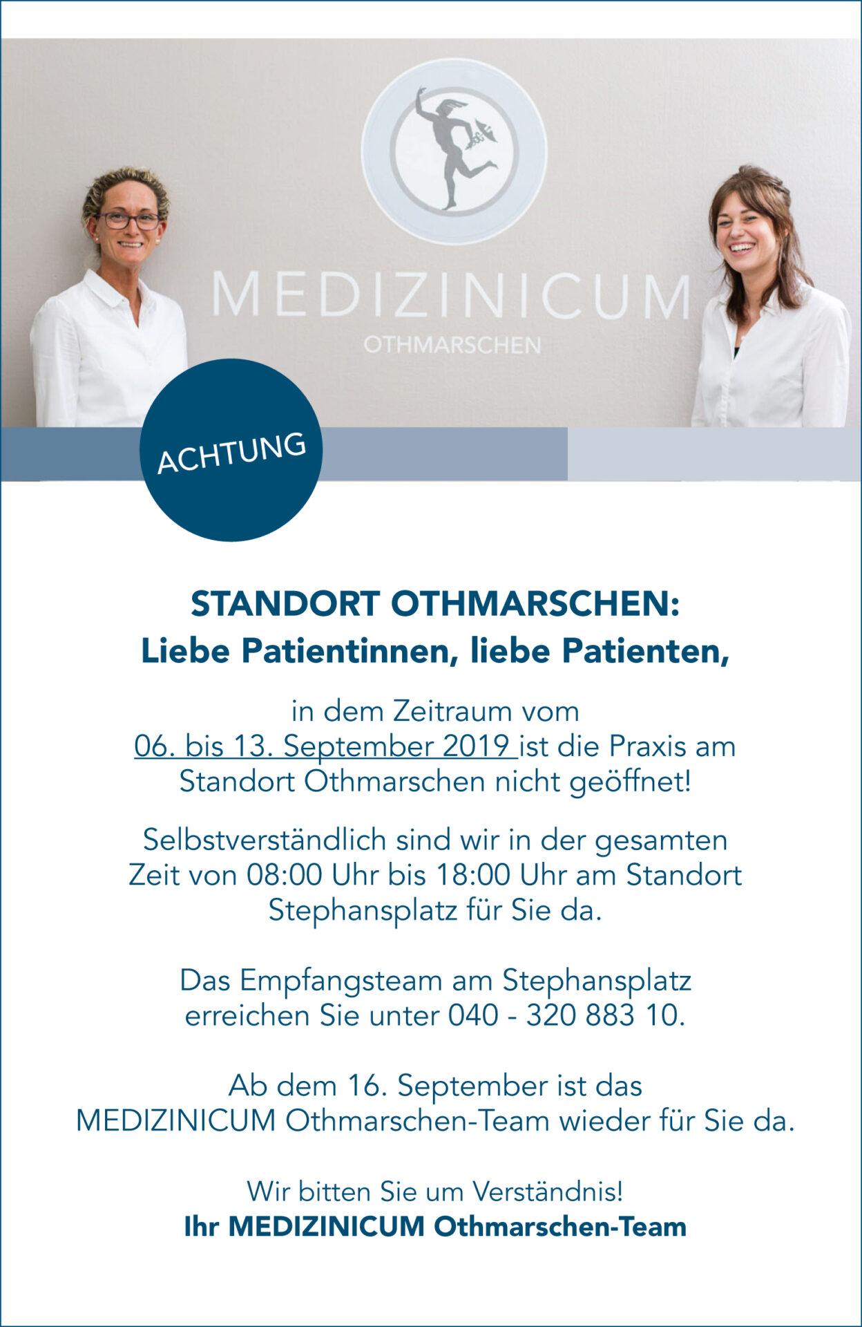 Standort Othmarschen geschlossen PopUp Hinweis - MEDIZINICUM Hamburg